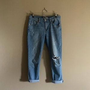 Levi's   Distressed Mid Rise Boyfriend Jeans